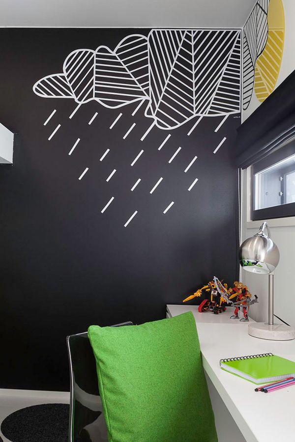 Villa Beauty -kohteen lastenhuoneet on maalattu mustaksi #Joker -maalilla, sävy 1900! #asuntomessut #tikkurila #asuntomessut2015 #lastenhuone #kidsroom