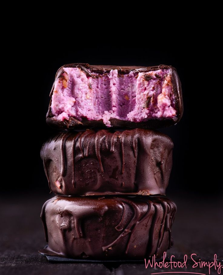 Raspberry Fudge Chocolates.  Simple and delicious!  Free from gluten, grains, eggs and refined sugar.  Enjoy!