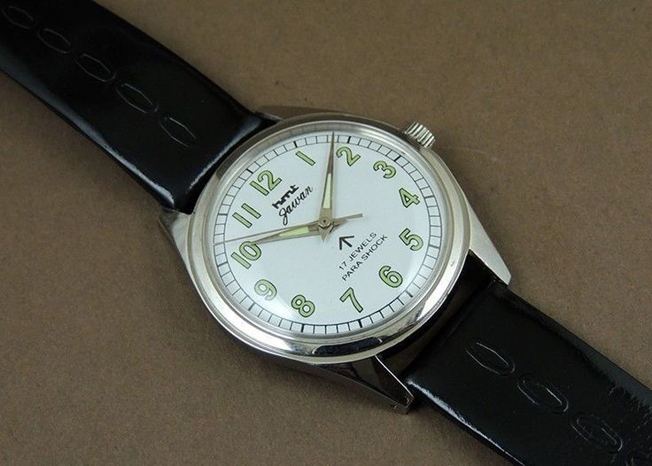 Vintage HMT Jawan HandWind 17Jewel India Mechanical White Dial Military Watch #HMT #Casual