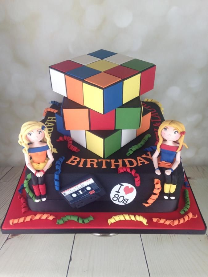 1980's Rubik's cube cake  by Melanie Jane Sowa