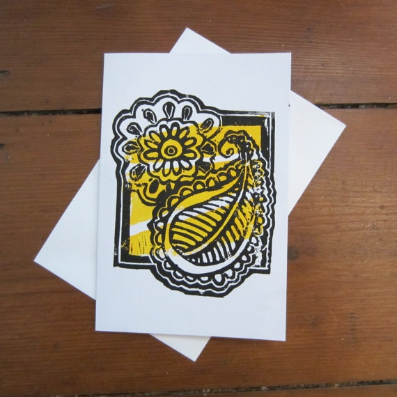 SIMPLE PAISLEY CARD (Yellow Background) on Etsy, £2.05