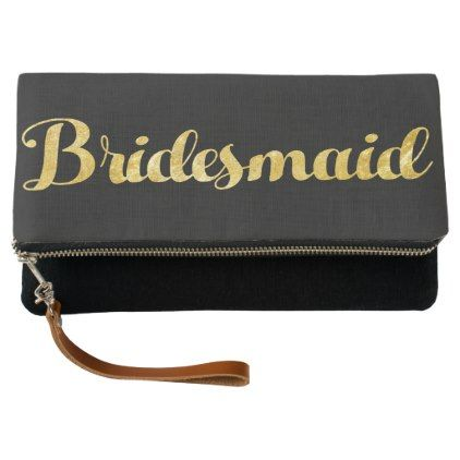 Gold bridesmaid clutch - gold wedding gifts customize marriage diy unique golden