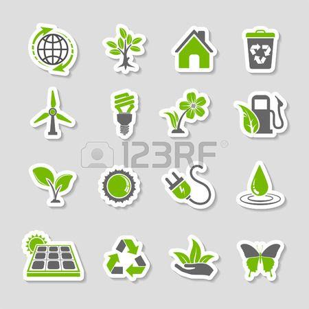 나무, 잎, 전구, 재활용 기호와 환경 아이콘 스티커 세트를 수집합니다. 두 가지 색상 벡터.