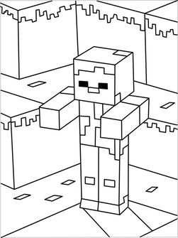 Printable Minecraft Zombies Coloring Pages