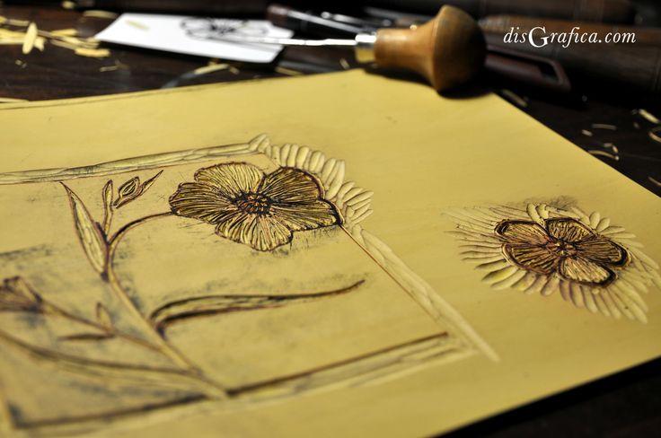 Nuovo logo #Aliseda disegnato a mano ed inciso su linoleum. #linocut #printmaking