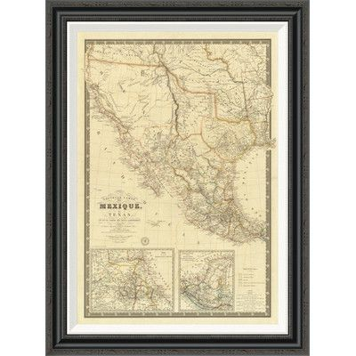 Global Gallery 'Nouvelle Carte du Mexique, Du Texas, 1840' by Adrien Hubert Brue Framed Painting Print Size: