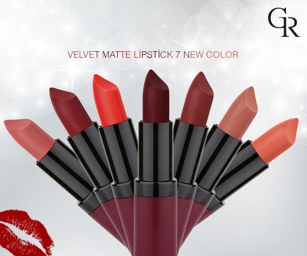 Velvet Matte Lipstick'in 7 yeni rengini inceledin mi? Peki senin favorin hangisi? http://www.goldenrosestore.com.tr/velvet-matte-lipstick.html