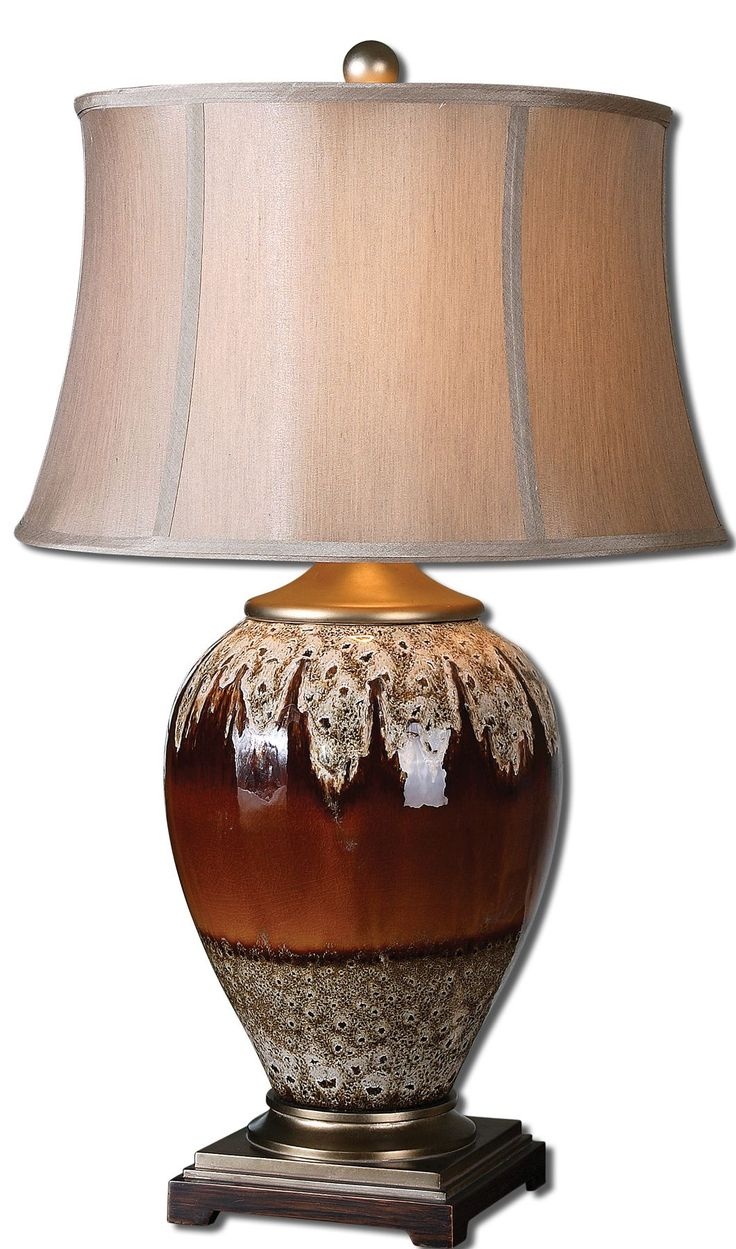 Wh wholesale vintage lead crystal table lamp buy cheap - Alluvioni Table Lamp Glossy Rust Bronze Glaze With An Aged Stone Drip And Silver Champagne Details The Round Bell Shade Is An Oatmeal Linen Fabric