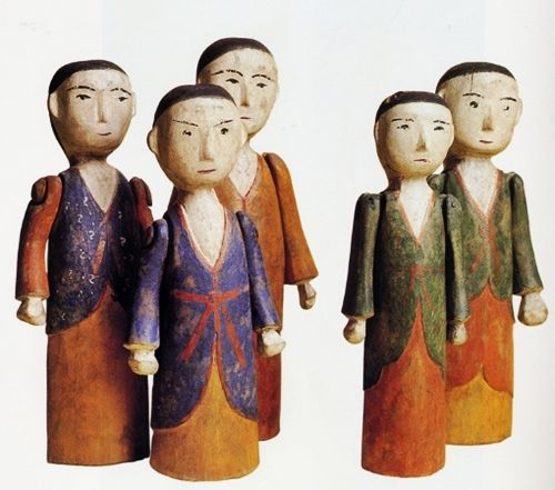 """Kokdu,"" Korean traditional wooden figurines which were used to adorn a bier to drive out evil spirits for the deceased"
