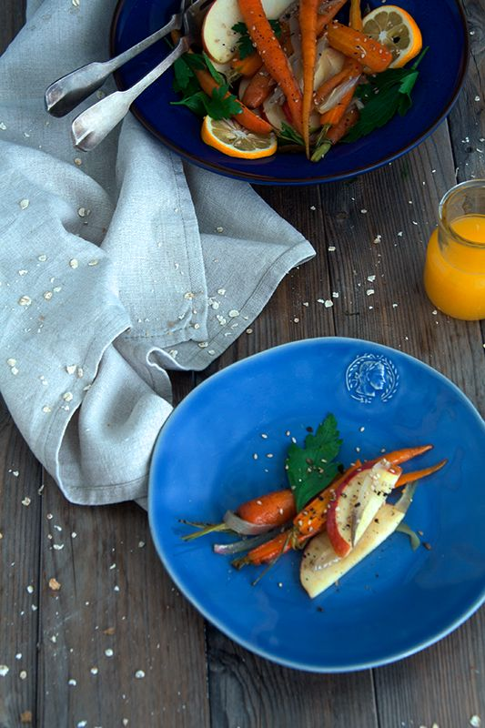 A simple roasted carrot salad with fenel seeds and shallots - Μια απλή σαλάτα με ψητά καρότα σπόρους φινόκιο και κρεμμύδια shallots