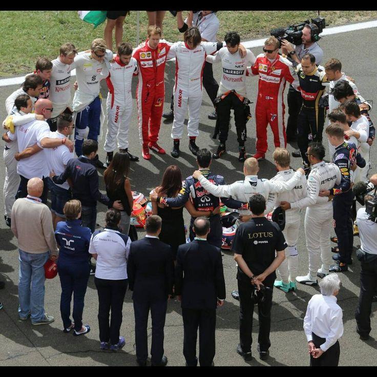 Very moving image:  All 20 drivers and members of Jules Bianchi's family standing arm in arm in a circle on the grid,observing a minute's silence for Jules Bianchi, before the start of the Hungarian GP on Sunday. __________  #SebastianVettel #Vettel #Seb5 #SV5 #F1 #Formula1 #FormulaOne #Formel1 #Formule1 #FormulaUno #Autosport #Motorsport #GrandPrix #GP #Racing #F12015#HungarianGP #Hungaroring#JulesBianchi #Bianchi #JB17#CiaoJules#JulesForeverInOurHearts #KimiRaikkonen #Raikkonen