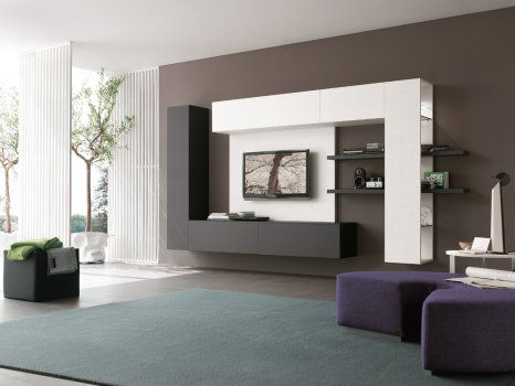 Contemporary wall units for the living room