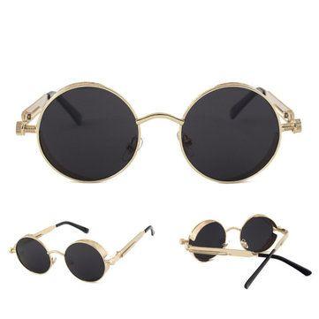 UV400 Vintage Steampunk Round Mirror Lens Sunglasses Outdoor Sport Hisper Eyewear For Man Women at Banggood