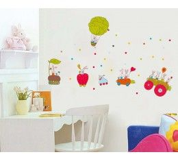 Rabbit train wall sticker available at www.kidzdecor.co.za. Free postage throughout South Africa