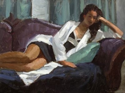 Paul SchulenburgYoung Woman in a White Robe   oil on panel 12 x 16, framed 18 x…