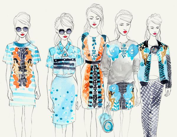 Holly Fulton line up - lovely drawing by Leni Kauffman - fashion illustration