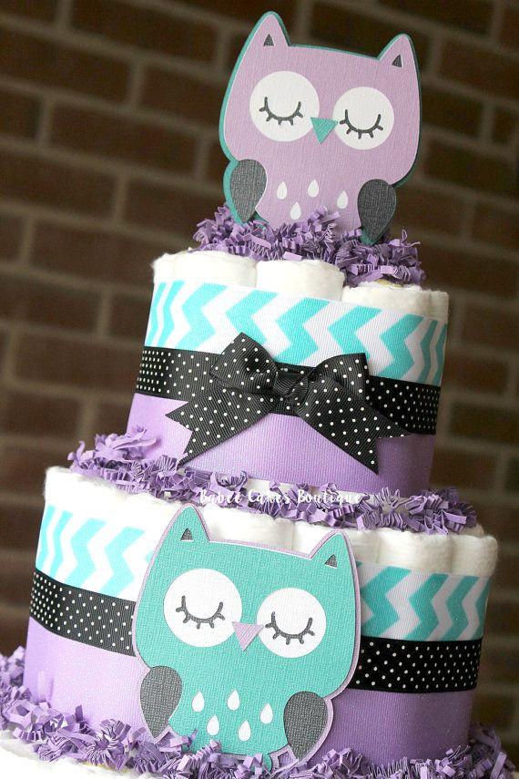 3 nivel búho morado Teal y negro pañal Mini tortas niñas