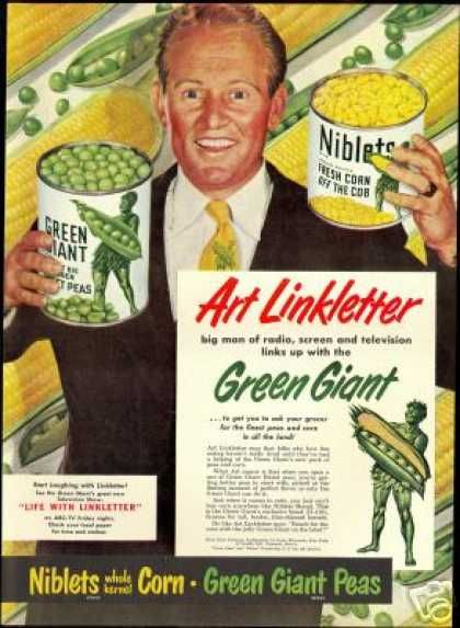 Art Linkletter for Green Giant, huge food advertising all medias.