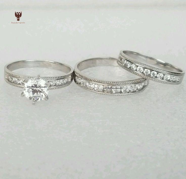 HIS & HER DIAMOND 14K WHITE GOLD ROUND CUT 3-PIECES WEDDING BAND TRIO RING SETS  #br925silverczjewelry #EngagementWeddingAnniversaryPartyValentine