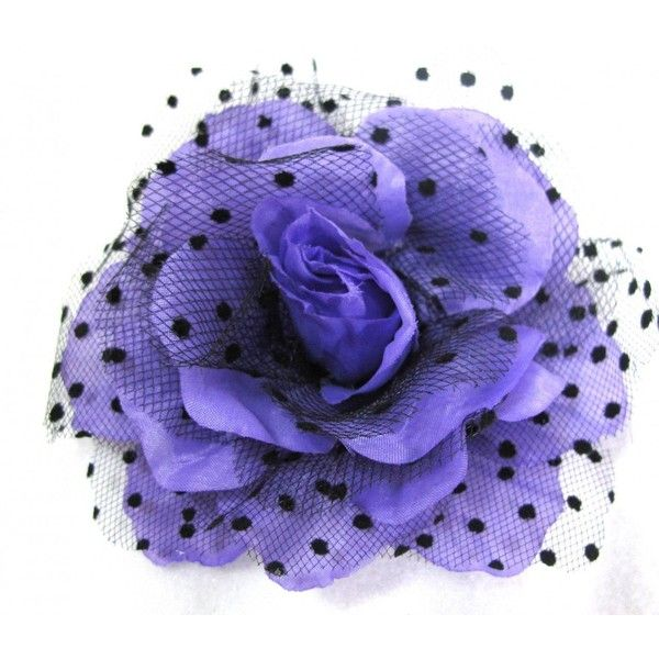 Purple Rockabilly Rose Flower Hair Clip, Pin and Pony ($5.99) ❤ liked on Polyvore featuring accessories, hair accessories, rose hair accessories, flower hair accessories, barrette hair clips, flower hair clip and purple hair accessories