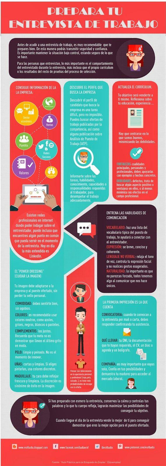 Cómo preparar una entrevista de trabajo #infografia #infographic #empleo vía @erafbadia