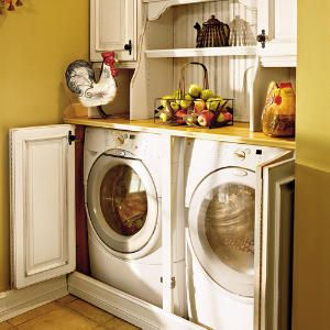 .: The Doors,  Automat Washer,  Wash Machine, Washer And Dryer, Laundry Rooms, Laundry Closet, Laundry Area, Small Spaces, Cabinets Doors