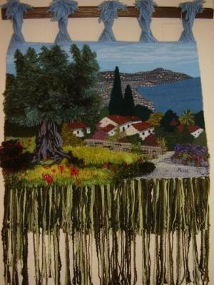 olivo en la cala tapiz lana urdimbre,, mixta,