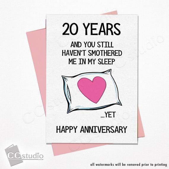 Funny Anniversary Card 20 Year Anniversary Card Wife Etsy Funny Anniversary Cards Anniversary Funny 20 Year Anniversary Cards