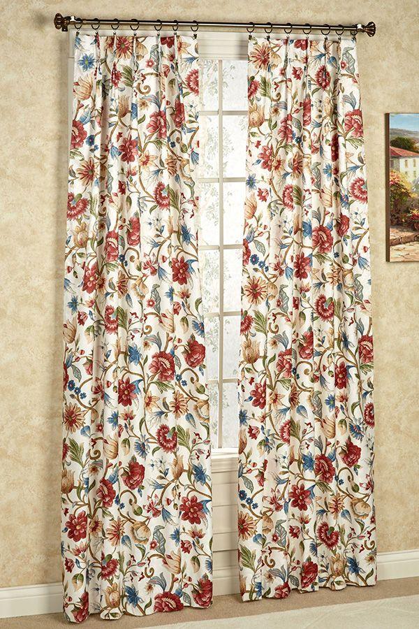 Cornwall Pinch Pleat Thermal Room Darkening Floral Curtains