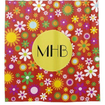 Monogram - Flowers Blossoms - Red Green Orange Shower Curtain - monogram gifts unique custom diy personalize