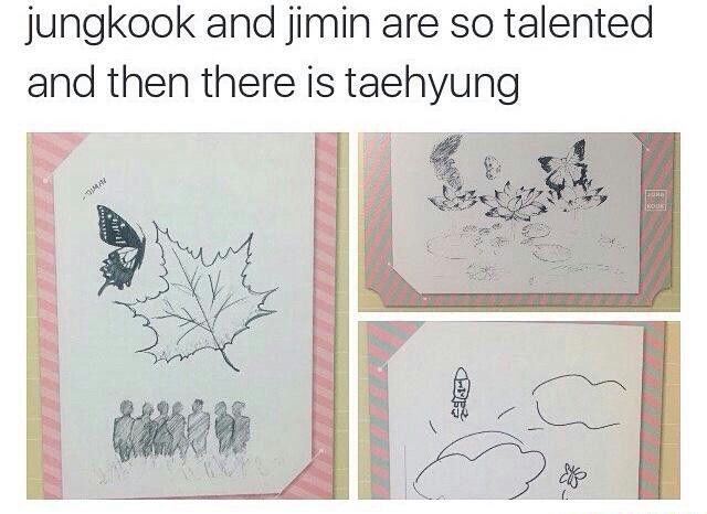 My drawing skills are on V's level... | BTS