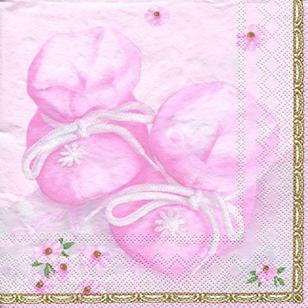Serviett, 33x33 cm - Baby, rosa