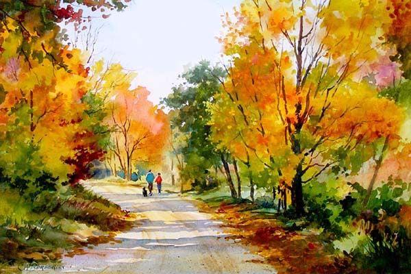 Autumn Stroll Jpg Landscape Paintings Autumn Landscape Landscape