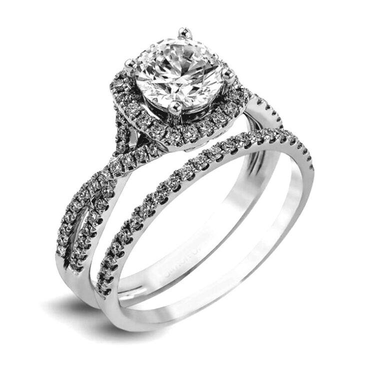 925 sterling silver engagement halo ring wedding band round cz bridal womens set #silverstargemsjewelry #HaloBridalSet