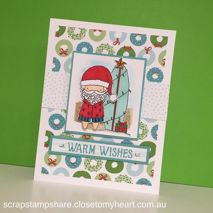 More fun with Surfin' Santa! #ctmh #closetomyheart #christmas #christmascards #shinhanart #craftyfun #scrapstampshare #thecraftyshed