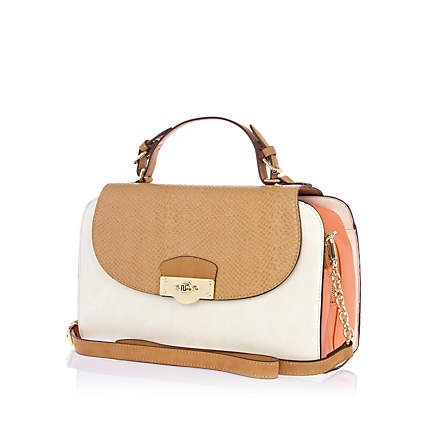 Coral colour block structured bag £40.00