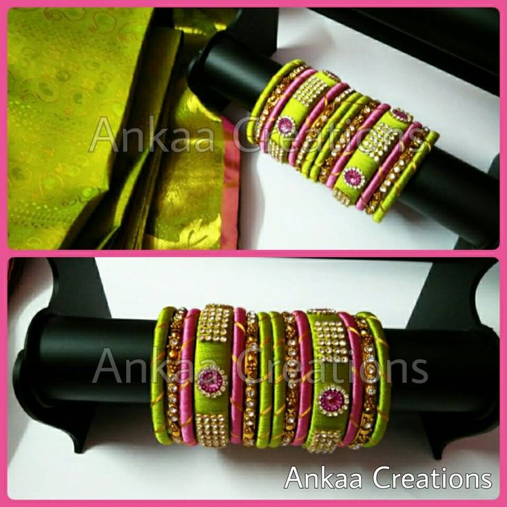 silk thread bridal bangles set in green n pink colors, embellished with stone lace and kundans to give a beautiful look.. for placing orders inbox at https://m.facebook.com/ankaa.creations or whatsapp @ 8050398758 #silk #silkthreadjewelery #silkthread #handmade #bridalbangles #silkthreadbangles #ecofriendly #ankaacreations