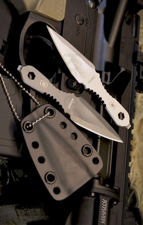 Spartan Blades Velos Tactical Black Fighting Fixed Knife Blade Neck Knife Tool Kydex Sheath