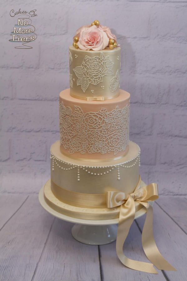 """Peaches and Cream"" wedding cake  by Cakes By No More Tiers (Fiona Brook) - http://cakesdecor.com/cakes/262470-peaches-and-cream-wedding-cake"
