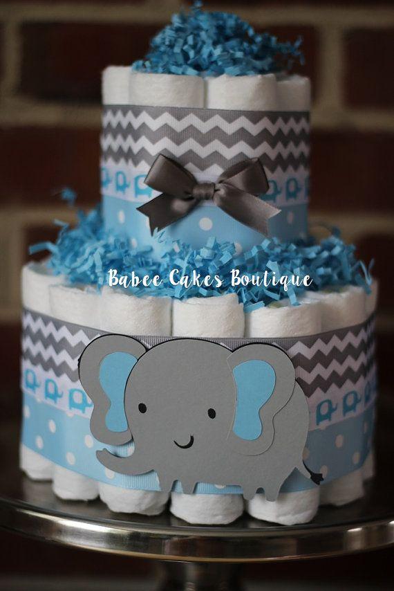 Torta de pañales mini 2 nivel elefante por BabeeCakesBoutique