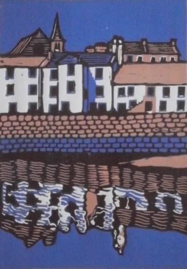 Scottish fishing village st monans lino print  Helen Maxfield printmaking