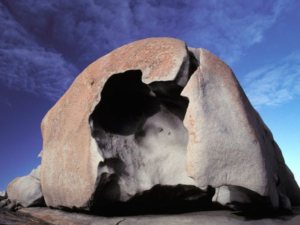 Photograph by Jason Edwards    The Remarkable Rocks, a series of weather-sculpted boulders that perch on a granite dome above the sea, draw visitors to Flinders Chase National Park on south Australia's Kangaroo Island.