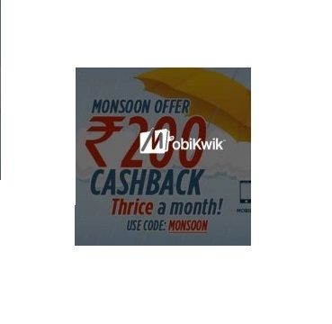 Mobikwik is Offering Get2% Cashback on Recharge & Bill Payments How to catch the offer: Click here for offer page Do rechargeMinimum Rs.10 Apply offer code MONSOON Make final payment Maximum Cashback Rs.200 Offer valid for Select MobiKwik users.
