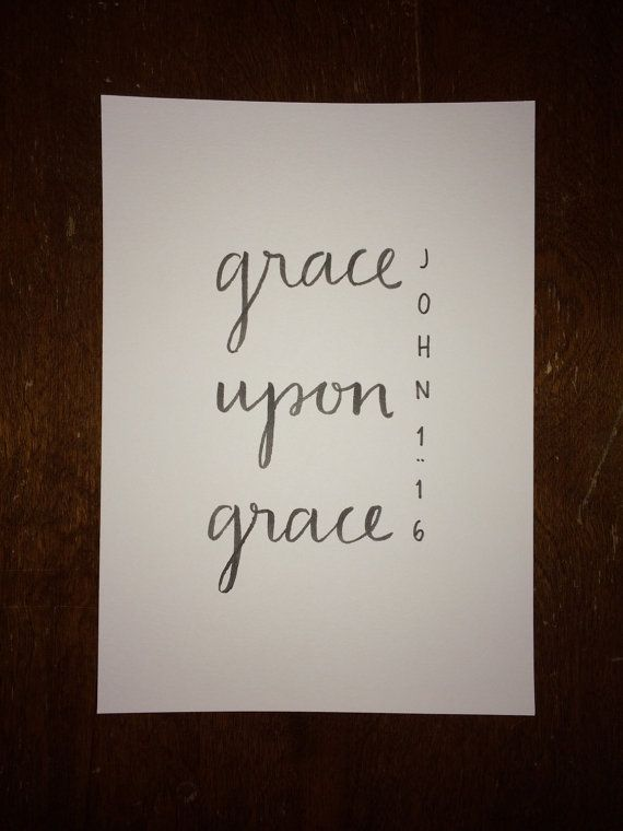 John 1:16 Bible Verse Typography Print by WheatNBarley on Etsy
