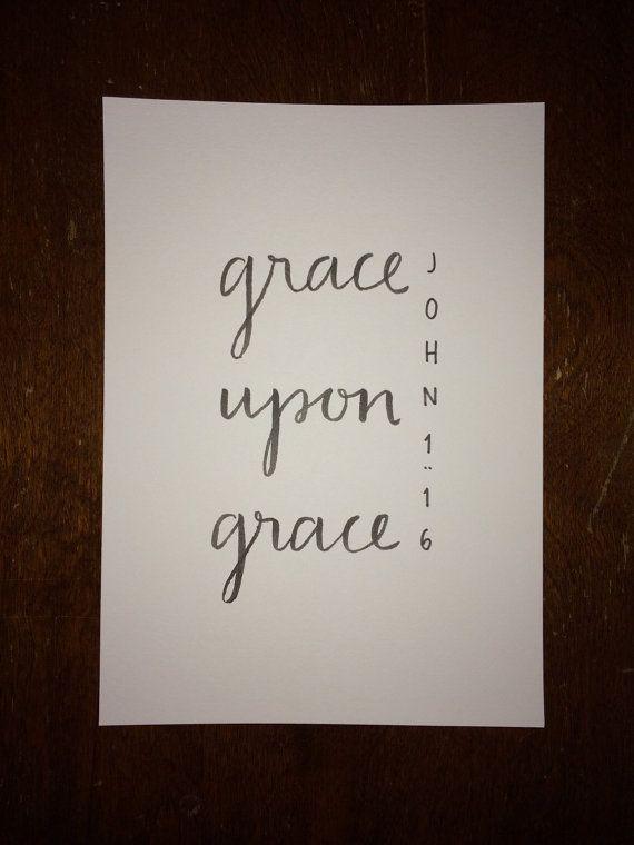 John 1:16 Bible Verse Typography Print by WheatNBarley on Etsy
