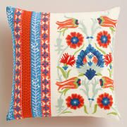 See more detail about Festive Elephant Embroidered Throw Pillow..