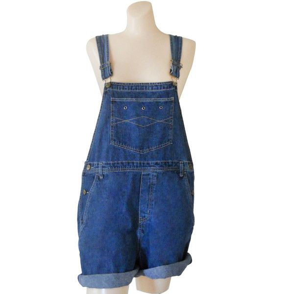 Women Denim Overall Shorts Denim Shortall Denim Bib Overall Short 90s... (847.175 VND) ❤ liked on Polyvore featuring jumpsuits, rompers, bottoms, shorts, dresses, dungarees, other, denim overalls, bib overalls and blue overalls