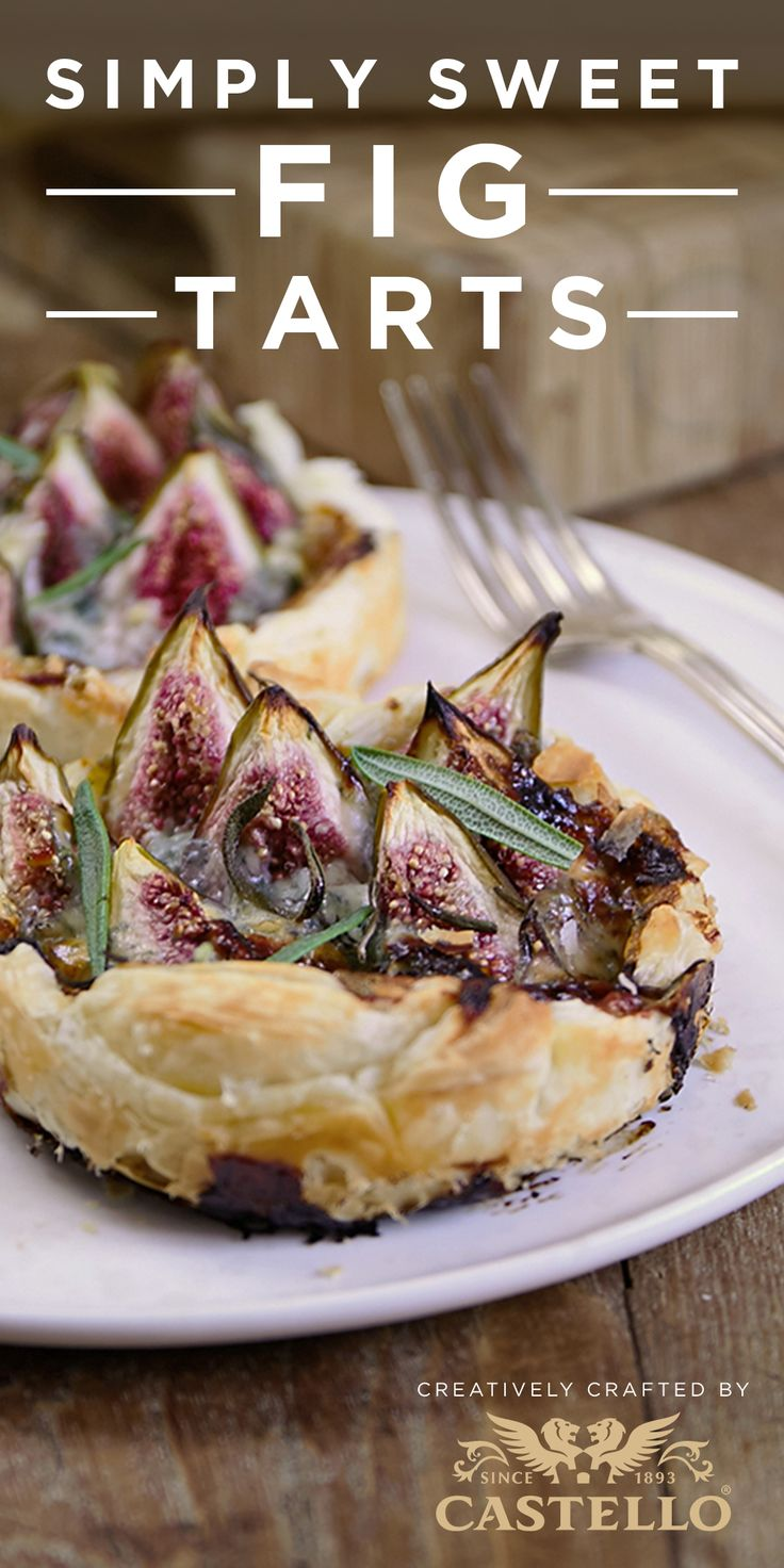 Suprisingly simple fig tarts topped with Castello Traditional Danish Blue cheese and a drizzle of honey are a great date night dessert. Get the recipe here. #dessert #datenight #recipe