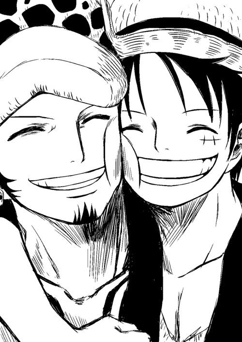 Trafalgar Law x Monkey D. Luffy- NAWWWW for once Law's smiling! XD