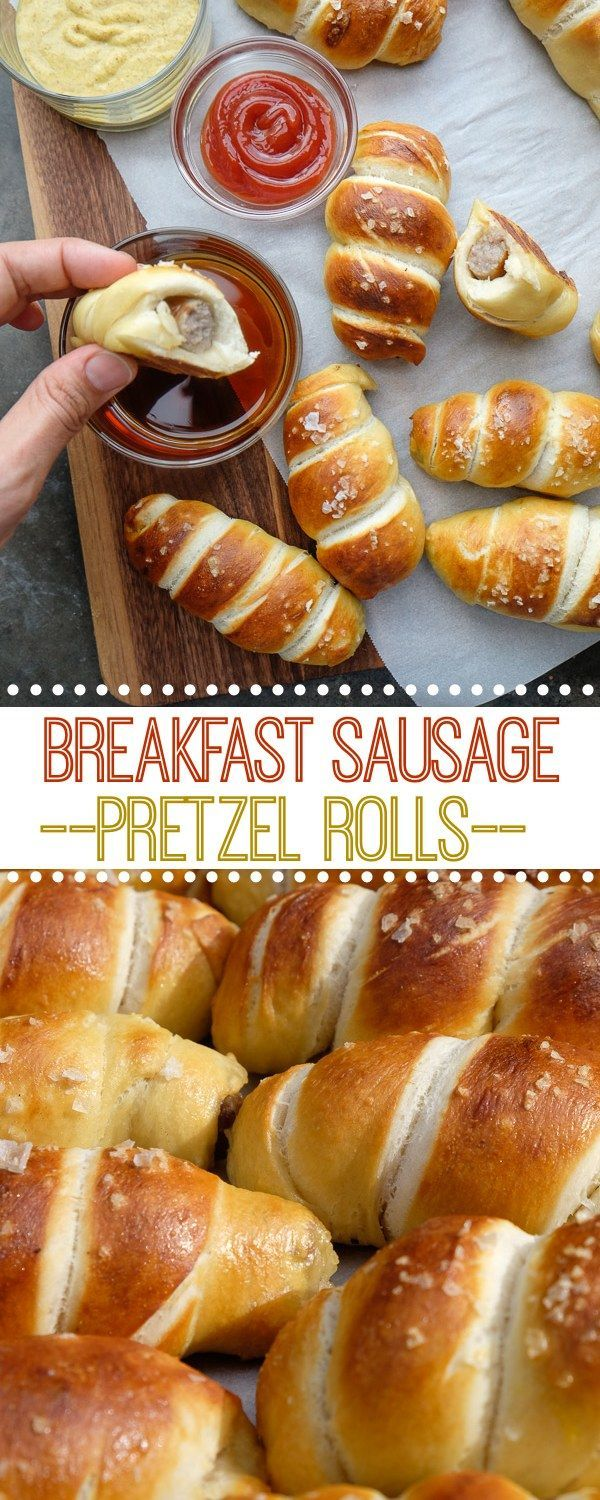 Breakfast Sausage Pretzel Rolls are perfect for a weekend brunch! Find the recipe on Shutterbean.com